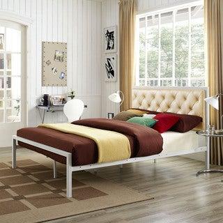 Modway Min Gold Vinyl Platform Bed Frame with 10-inch Queen-size Memory Foam Mattress