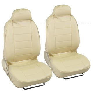 Deluxe Faux Beige Leather Front Pair High Back Car Seat Covers