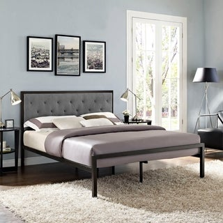 Min Grey Fabric Platform Bed Frame with 10-inch Queen-size Memory Foam Mattress