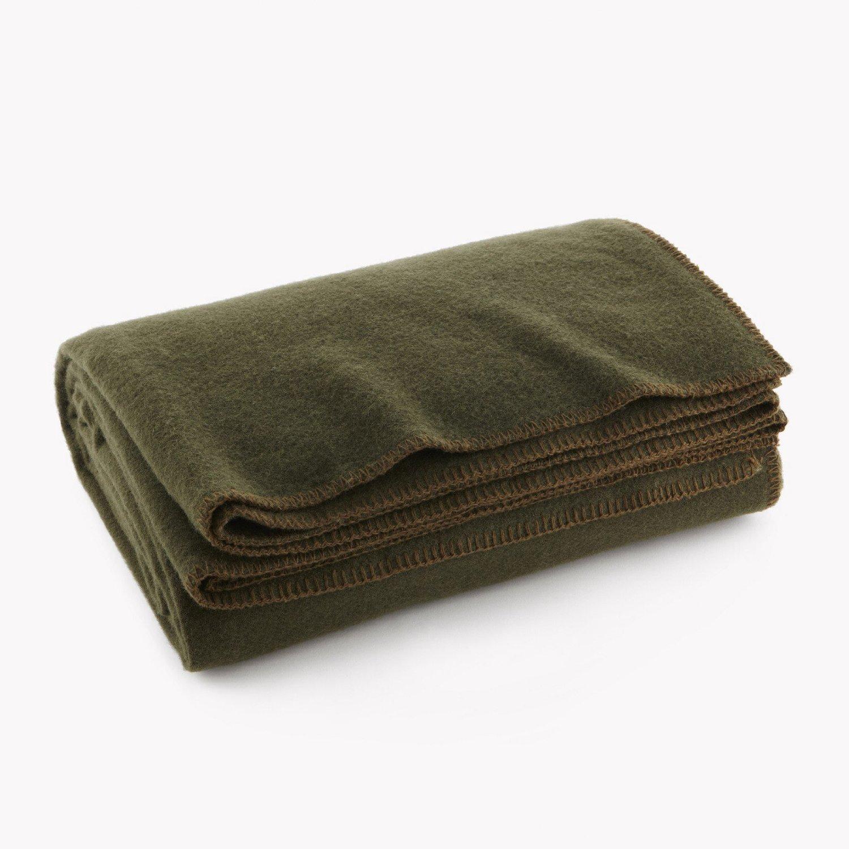 Ever Olive Drab Green Warm Wool Fire Retardent Blanket