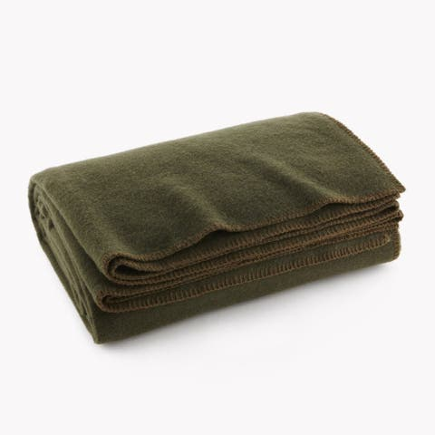Olive Drab Green Warm Wool Fire Retardent Blanket