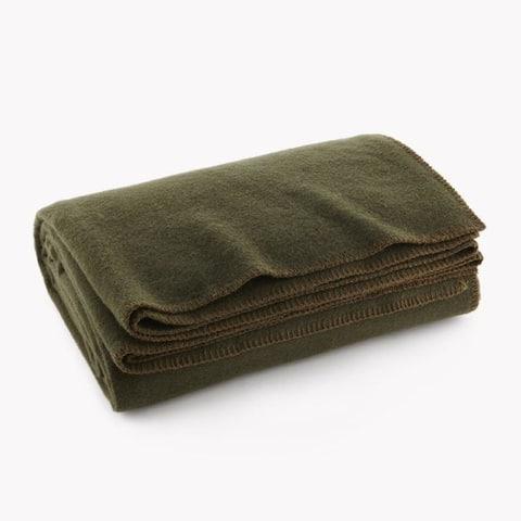Olive Drab Green Warm Wool Fire Retardent Blanket