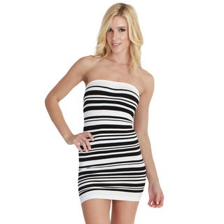 Nikibiki Women's Seamless Stripe Tube Dress with Rib Band