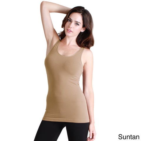 NikiBiki Women's Seamless Basic Solid Nylon/Spandex Jersey Tank Top
