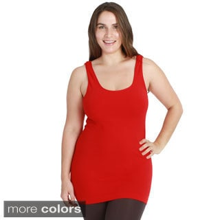Nikibiki Women's Plus Size Seamless Color Jersey Tank Top