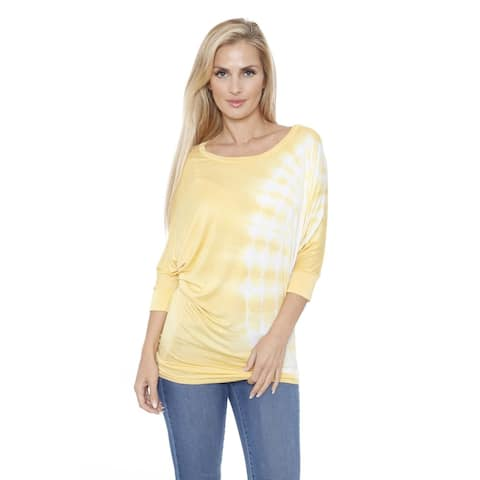 White Mark Women's Tie Dye Dolman Top/Tunic