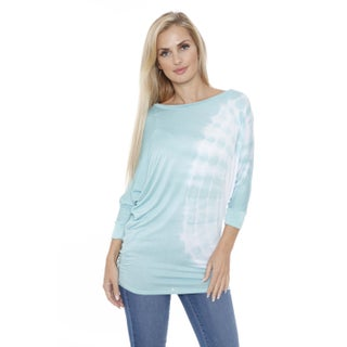 White Mark Women's Tie Dye Dolman Top/Tunic Circle Pattern (More options available)