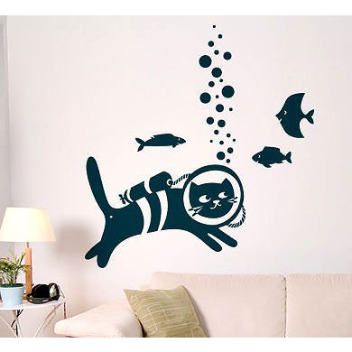 Cat Scuba Diver Vinyl Sticker Wall Art