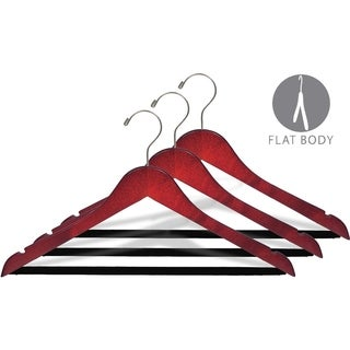 Cherry Finish Suit Hanger with Black Velvet Non-Slip Bar, Box of 50 Flat Hangers with Notches
