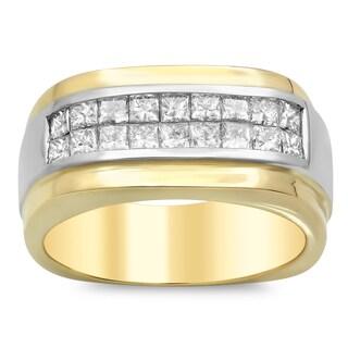 14k Gold Men's 1 7/8ct TDW Diamond Ring (E-F, VSI1-VS2)