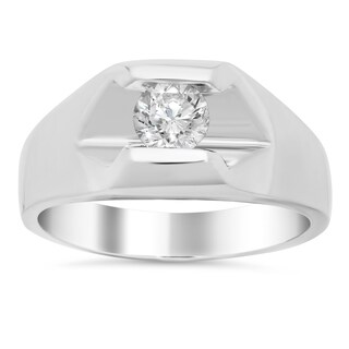 14k White Gold Men's 7/8ct TDW Certified Diamond Ring (I, SI2)