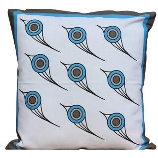 Decorative Blue Printed Bird Cotton Throw Pillow Cover