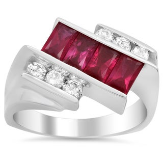 14k White Gold 1/3ct TDW Diamond and Ruby Ring (F-G, SI1-SI2)