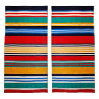 Superior Oversized Multi Stripes Jacquard Cotton Beach Towels (Set of 2)