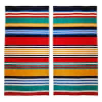 Superior Multi Stripes Jacquard Cotton Beach Towels (Set of 2)