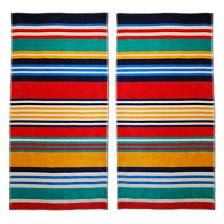 Superior Multi Stripes Jacquard Cotton Beach Towels (Set of 2)