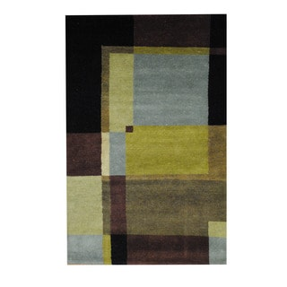 Herat Oriental Indo Hand-knotted Tribal Tibetan Green/ Black Wool Rug (3'6 x 5'5)