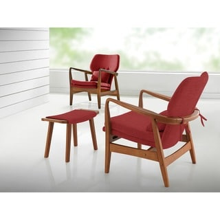 Baxton Studio Dobra Mid-century Modern Walnut Finished Red Fabric Upholstered Club Chair with Sleek Polished Wood Arms