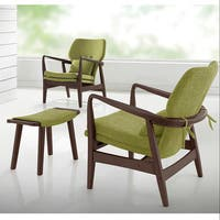Baxton Studio Dobra Mid-century Walnut Finished Modern Green Fabric Upholstered Club Chair with Sleek Polished Wood Arms