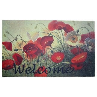 "Printed Flocked Welcome Poppies Doormat (18"" x 30"")"