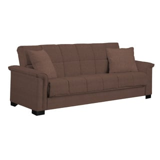 Handy Living Caroline Brown Microfiber Convert-a-Couch Sleeper Sofa