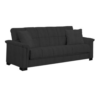 Handy Living Caroline Black Microfiber Convert-a-Couch Sleeper Sofa