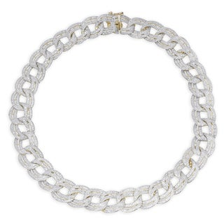 Finesque Gold or Silver Overlay 1ct TDW Diamond Link Necklace (I-J, I2-I3)