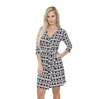 White Mark Women's 'Mariah' Plaid Print Wrap Dress