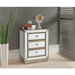 Treasure Trove Accents Elsinore Silver and Mirror Three Drawer Nightstand