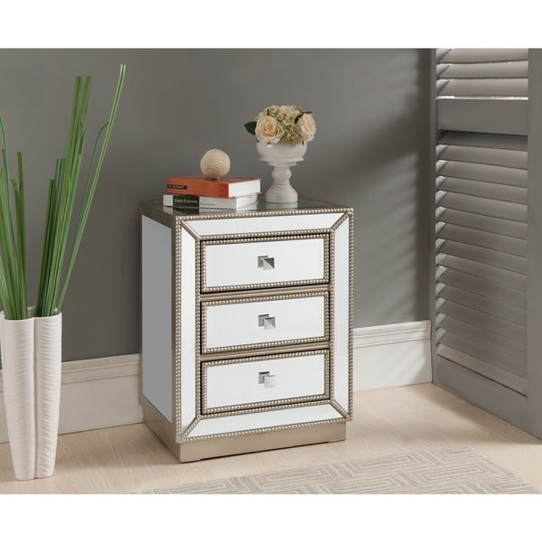 Treasure Trove Accents Elsinore Silver And Mirror Three Drawer Nightstand by Generic