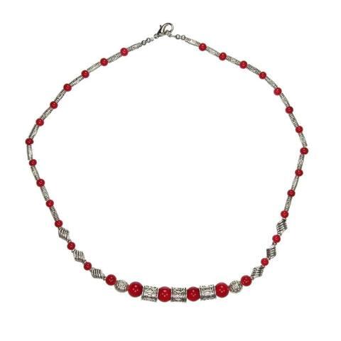 Handmade Tibetan Silver Red Beaded Necklace