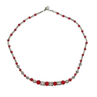 Handmade Tibetan Silver Red Beaded Necklace (China)