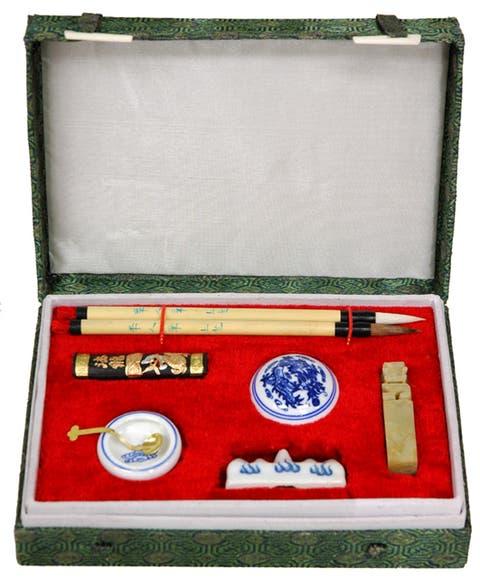 Handmade Mandarin Calligraphy and Chop Set (China)