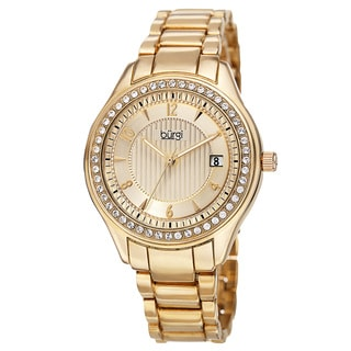 Burgi Women's Quartz Swarovski Crystals Date Gold-Tone Bracelet Watch