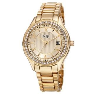 Burgi Women's Quartz Swarovski Crystals Date Gold-Tone Bracelet Watch - Gold