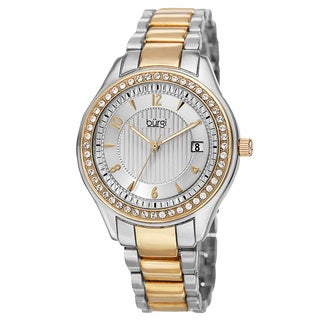 Burgi Women's Quartz Swarovski Crystals Date Two-Tone Bracelet Watch