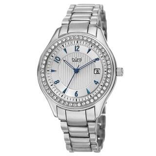 Burgi Women's Quartz Swarovski Crystals Date Silver-Tone Bracelet Watch