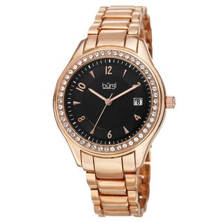 Burgi Women's Quartz Swarovski Crystals Date Rose-Tone Bracelet Watch with FREE Bangle - GOLD