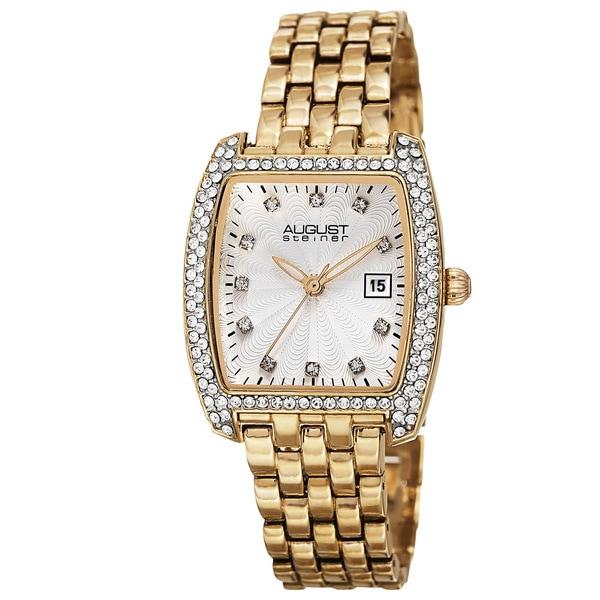August Steiner Women's Quartz Swarovski Element Crystals Date Indicator Gold-Tone Bracelet Watch