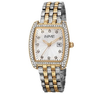 August Steiner Women's Quartz Swarovski Crystals Date Indicator Two-Tone Bracelet Watch