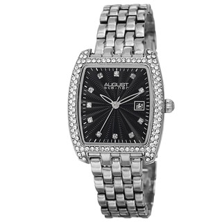 August Steiner Women's Quartz Swarovski Element Crystals Date Indicator Silver-Tone Bracelet Watch