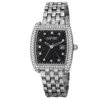 August Steiner Women's Quartz Swarovski Element Crystals Date Indicator Silver-Tone Bracelet Watch