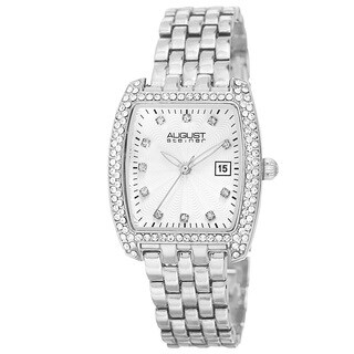 August Steiner Women's Quartz Swarovski Crystals Date Indicator Silver-Tone Bracelet Watch
