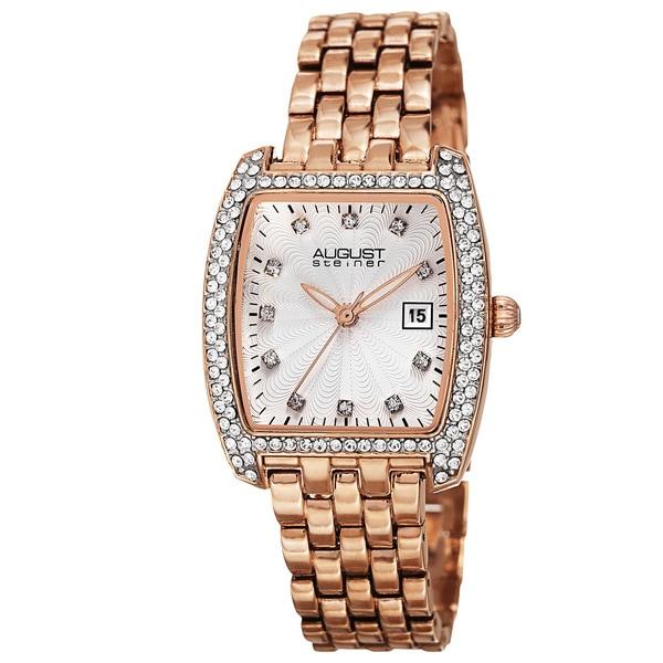 August Steiner Women's Quartz Swarovski Crystals Date Indicator Rose-Tone Bracelet Watch - Gold
