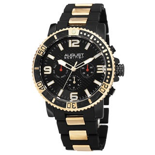 August Steiner Men's Swiss Quartz Multifunction Rotating Bezel Alloy Mid-link Gold-Tone Bracelet Watch