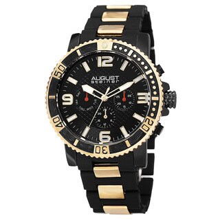 August Steiner Men's Swiss Quartz Multifunction Rotating Bezel Alloy Mid-link Gold-Tone Bracelet Wat with FREE GIFT