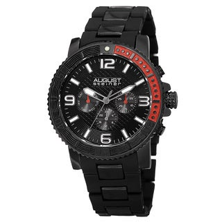 August Steiner Men's Swiss Quartz Multifunction Rotating Bezel Alloy Mid-link Black Bracelet Watch