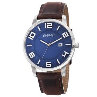 August Steiner Men's Ultra-Thin Swiss Quartz Leather Blue Strap Watch