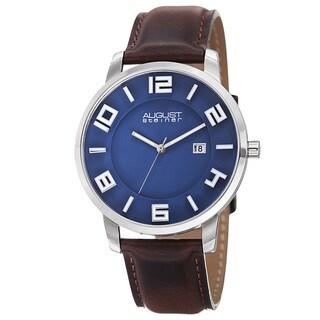 August Steiner Men's Ultra-Thin Swiss Quartz Leather Blue Strap Watch
