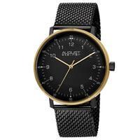 August Steiner Men's Swiss Quartz Mesh Stainless Steel Black Strap Watch